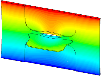 Simulation of crack growth at the vicinity of a welded stiffener.